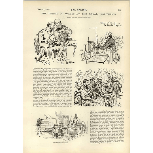 1893 The Prince Of Wales At The Royal Institution Artist Sketchbook