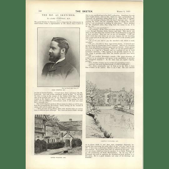1893 Earl Compton Mp As An Artist