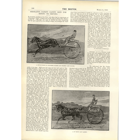 1893 Serjeants Patented Safety Reign For Riding Or Driving English Girl South Africa