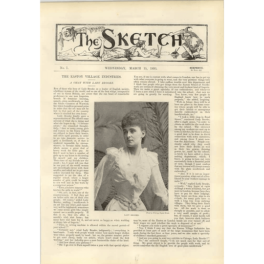1893 Lady Brooke Chat Easton Village Industries Marquis Of Huntley