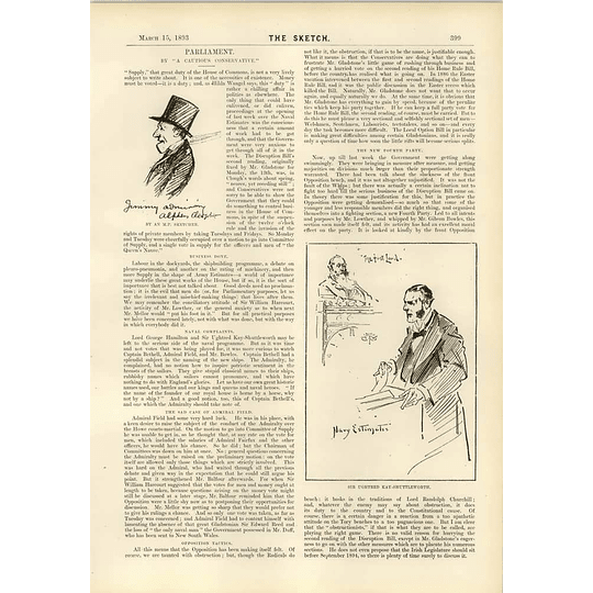 1893 Adml Field Navy Estimates Sir Ughtred Kay Shuttleworth
