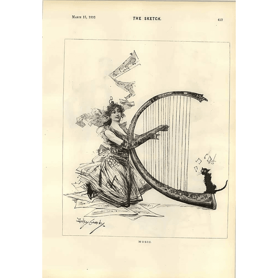 1893 Dudley Hardy Music Cat Cartoon Waiter Losing Concentration