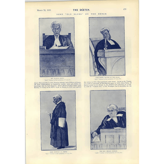 1893 Justice Chitty Lord Esher George Denman Justice A L Smith Old Blues