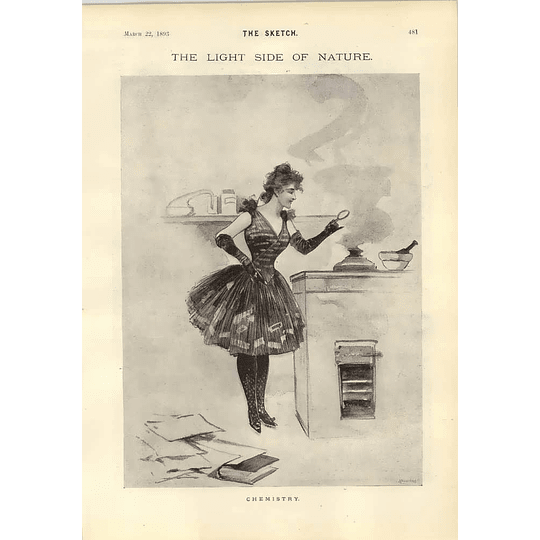 1893 Female Chemistry Tale Of Wheel And Woe Cartoons René Bull