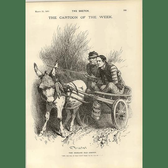 1893 Home Rule Donkey Cart Amnesty Carrots Gladstone Proctor Cartoon