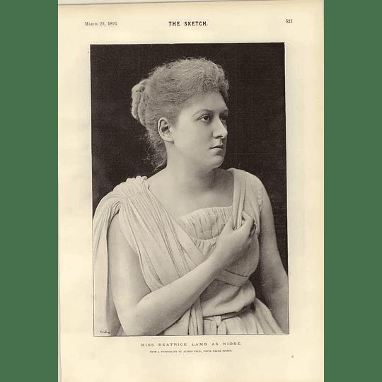 1893 Miss Beatrice Lamb As Niobe Interview Tramcar At Post Office Huddersfield