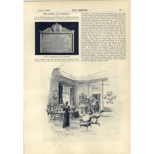 1893 The Queen In Florence Villa Palmieri