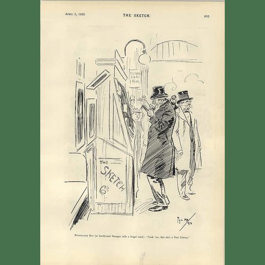1893 Phil May Cartoon Free Library Sad Umbrella René Bull