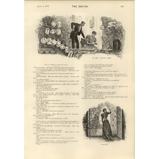 1893 Short Play Mrs Andrew Dean On The Balcony Maintaining Siberia