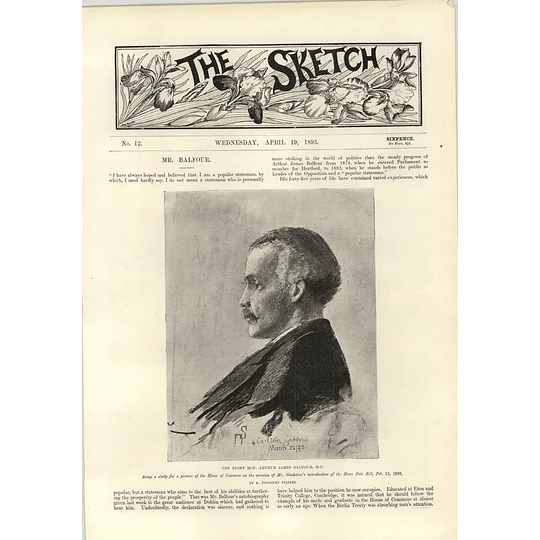 1893 Right Hon Arthur James Balfour Bristol Docks Strike