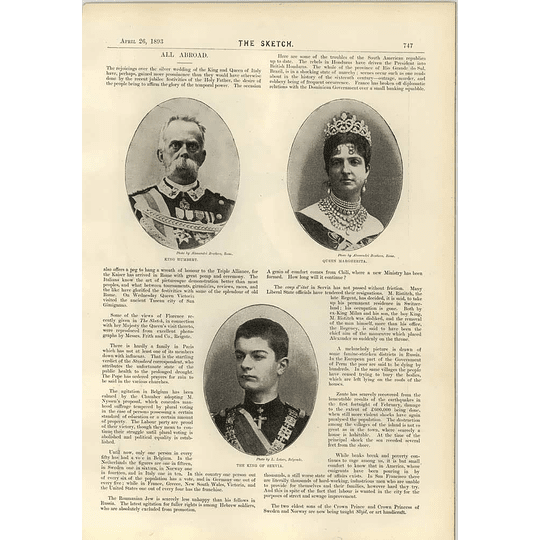 1893 King Humbert Queen Margherita King Of Serbia