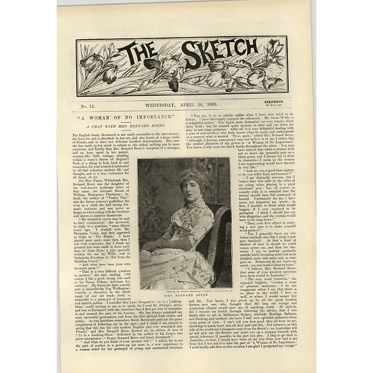 1893 Chat With Mrs Bernard Beere The Late Lord Derby Dowager Duchess Of Sutherland