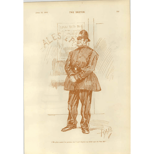 1893 Local Constable Veto Bill Mme Nouveau Riche Cartoon Gaffe