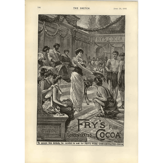 1893 Fry's Pure Cocoa Roman Wreath Of Victory Old Advert
