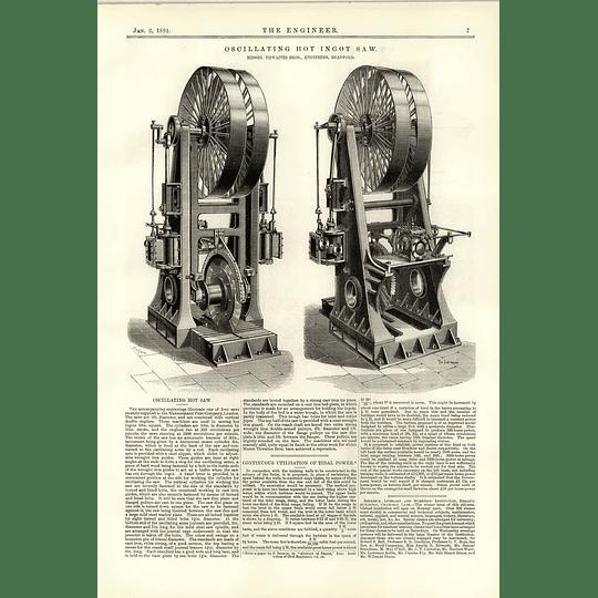 1891 Oscillating Hot Ingot Saw Thwaites Bros Bradford Tidal Power