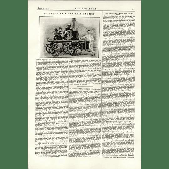 1891 Vienna Fire Engine Steamer William Thursfield