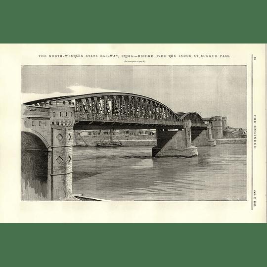 1891 Bridge Over River Indus At Sukkur Pass North-western State Railway India