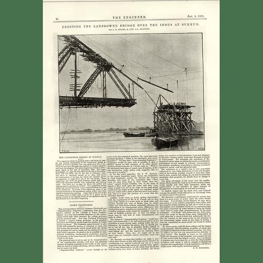 1891 Erecting The Lansdowne Bridge Indus Sukkur Rendel Engineer