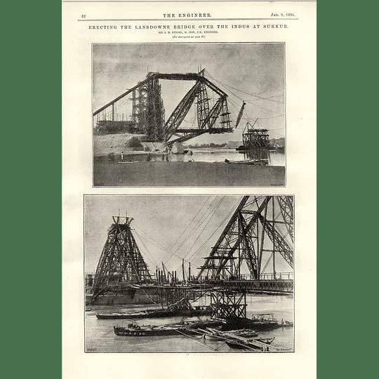 1891 Erecting The Lansdowne Bridge Indus Sukkur More Photographs