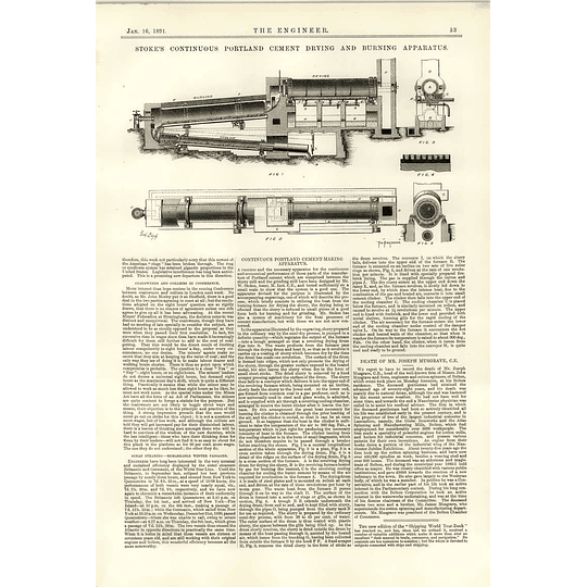 1891 Stokes Continuous Portland Cement Drying Burning Apparatus