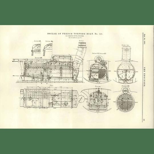 1891 French Torpedo Boat 128 Boiler Section Detail Plan