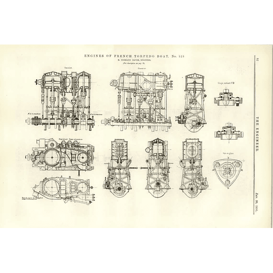 1891 French Torpedo Boat 128 Engines Normand Havre