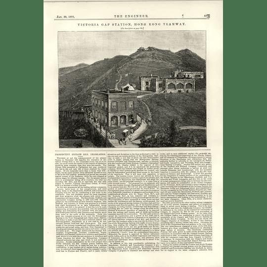 1891 Victoria Gap Station Hong Kong Tramway Hilltop View
