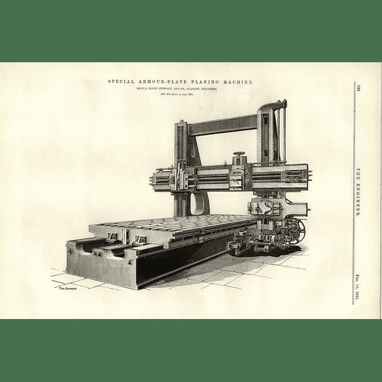 1891 Special Armour Plate Planing Machine Sharp Stewart Glasgow