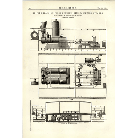 1891 Nile Passenger Steamer Southampton Neighbour Works Plan Section Engines