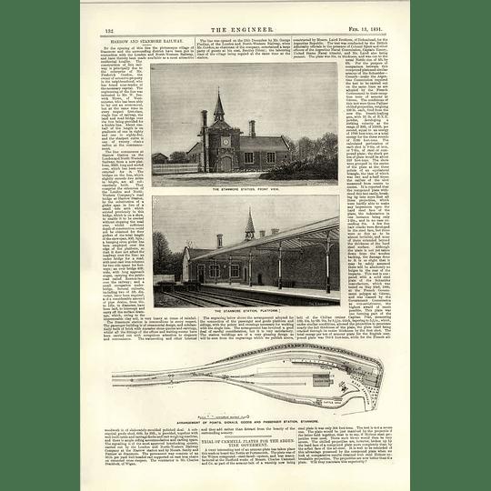1891 Stanmore Station Platform Front View Arrangement Points