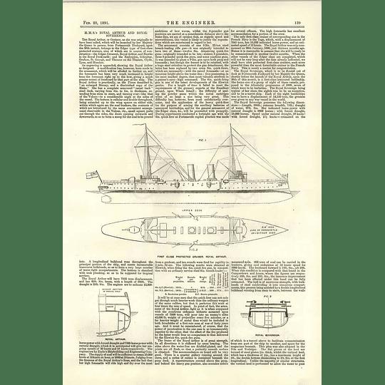 1891 Hms Royal Arthur Royal Sovereign Plans Diagrams Description