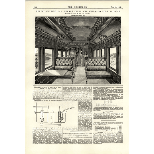 1891 Buffet Rolling Stock Smoking Car Buenos Aires Railway Plush Carriage View