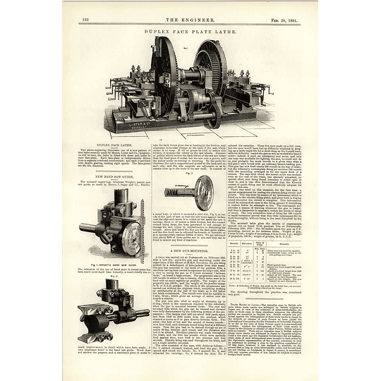1891 Duplex Face Lathe Lister Keighley New Bandsaw Guide Cross Speirs