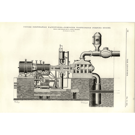 1891 Oxford Corporation Water Works Compound Worthington Pumping Engine