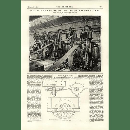1891 City South London Railway Compound Engines Mcdonald's Sand Dryer