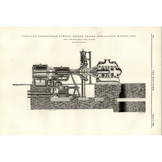 1891 Oxford Corporation Water Works Cross-section Pumping Engine