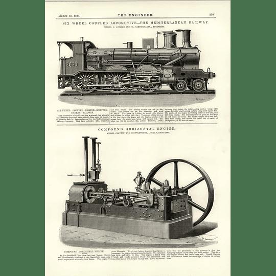 1891 Mediterranean Railway Ansaldo Sampierdarena Compound Horizontal Engine