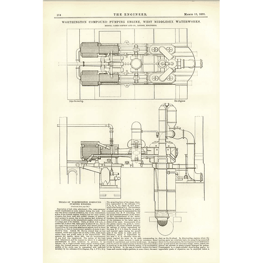 1891 West Middlesex Water Works Worthington Compound Pumping Engine