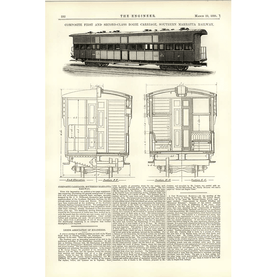 1891 Southern Mahratta Railway Composite First Second-class Boogie Carriage