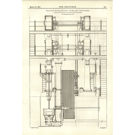 1891 Musgrave Bolton Triple Expansion Corliss Engines Diagrams Trial