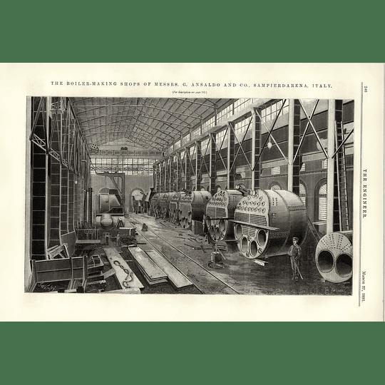 1891 Ansaldo Sampierdarena Boiler Making Shops Interior View