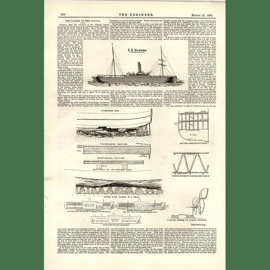 1891 Raising Recovery Ss Ulunda Damage Shown Watertight Bulkheads