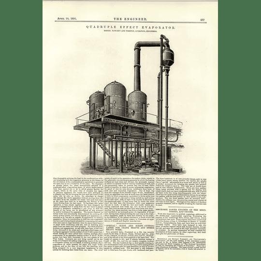 1891 Quadruple Effect Evaporator Fawcett Preston Liverpool
