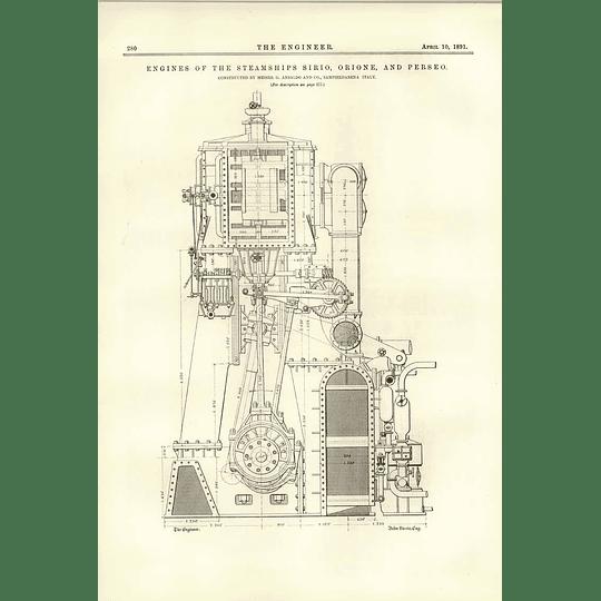 1891 Engines Of The Steamships Sirio Orione Perseo Ansaldo Sampierdarena 1