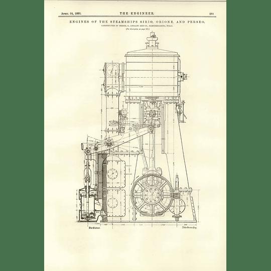 1891 Engines Of The Steamships Sirio Orione Perseo Ansaldo Sampierdarena 2