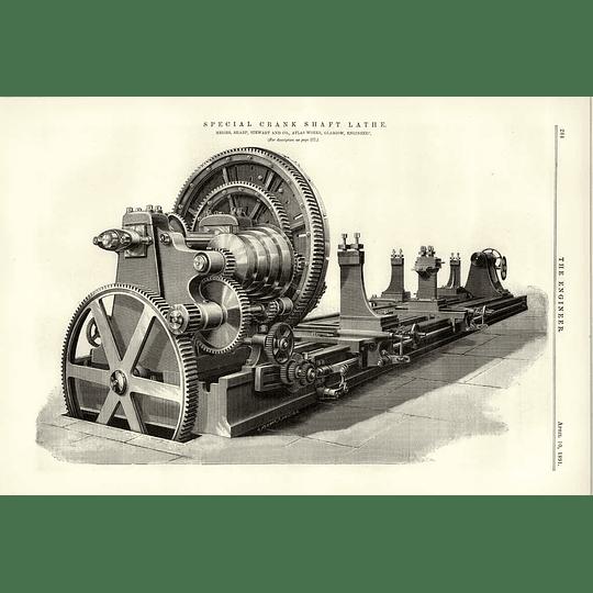 1891 Special Crankshaft Lathe Sharp Stewart Atlas Works Glasgow