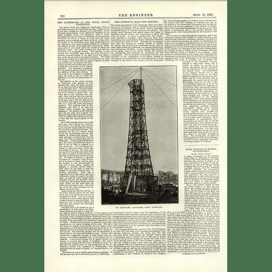 1891 The Eddystone Lighthouse Naval Exhibition Tasmanian Mainline Railway