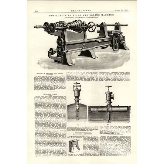 1891 Horizontal Drilling Boring Machine Halifax Mcdougalls Anti-primer