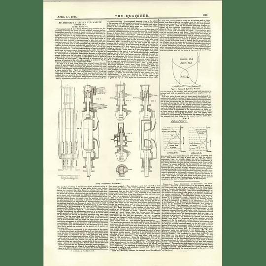 1891 Joy's Assistant Cylinder For Marine Engines
