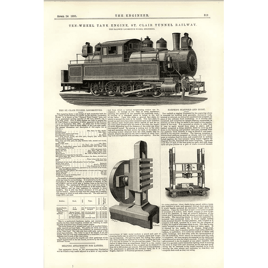 1891 10 Wheel Tank Engine St Clair Tunnel Railway Shaping Attachment Lathes
